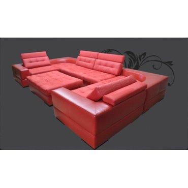 Большой угловой диван с пуфом Tarantino кожа