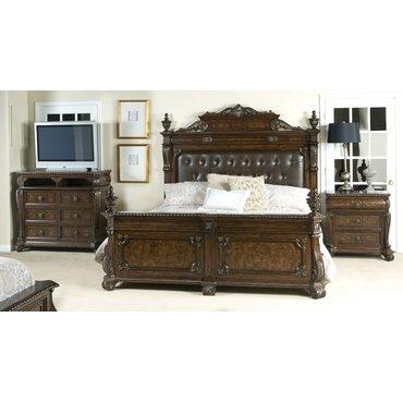 Деревянная кровать Vintage B2161-04-05-06 KING с мягким изголовьем
