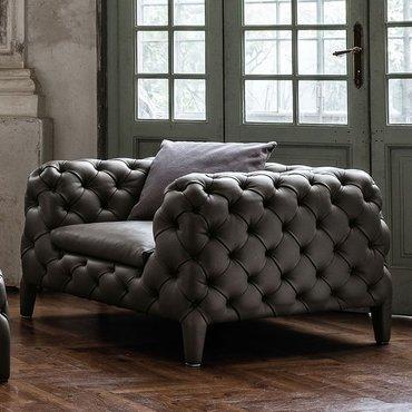 Кресло кожаное em18 с низкой спинкой