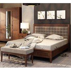 Кровать деревянная с мягким изголовьем БАВАРИЯ Queen