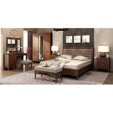 Кровать деревянная с мягким изголовьем БАВАРИЯ King