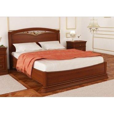 Деревянная кровать низкая с ковкой Омега Люкс OLL-01